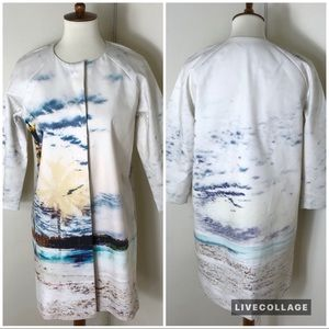 Lord & Taylor beach landscape print coat